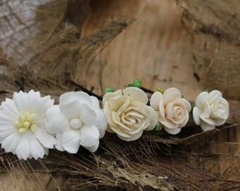 Set of 5 Small White Mulberry Paper Flower Hair Pins , Bridal Hair Pins, Hair Bobby Pins,U pins,Prom,Bridal Hair Accessories (FL376)