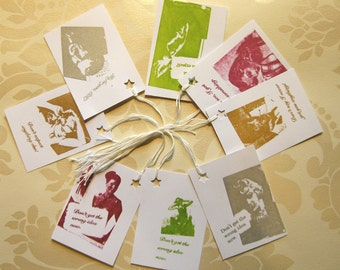 Original Print Gocco, Screenprinted, Shirty Comment, Cheeky Gift Tags, Pack of 8 Different Gift Tags, Any Occasion Gift Tags