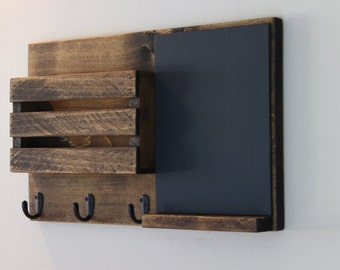 Chalkboard Mail Organizer, Mail Holder, Mail,  Rustic Organizer, Key Holder, Rustic Farmhouse Decor, Personalized Option Available