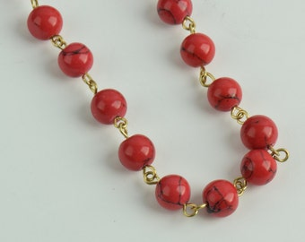 Beaded link chain, red sold by 10ft , 2 sizes 6mm (C564/RED) & 8mm (C565/RED)