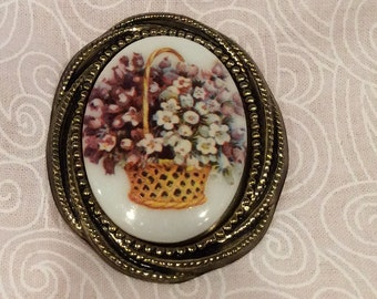 Vintage Flower Basket Cameo Style Brooch Pin with Gold tone setting made in Germany ,Large Signed Pin, Shawl or Scarf Pin, Cabochon