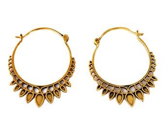 Tribal Hoop Earrings, Indian Hoop Earrings, Brass Hoop Earrings, Gypsy Hoop Earrings, Tribal Earrings, Boho Earrings, Gold Hoop Earrings