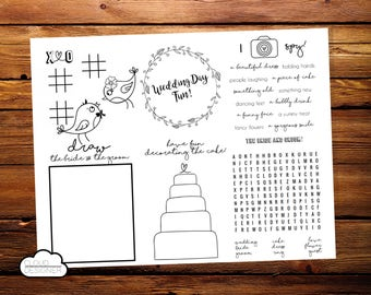 Wedding Coloring & Activity Placemat // Kids Wedding Coloring Book // Reception Game // Printable