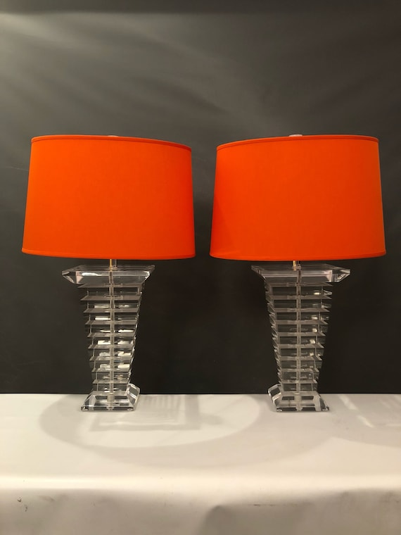 Pr Tapered Stacked Lucite Table Lamps. Tapered square.