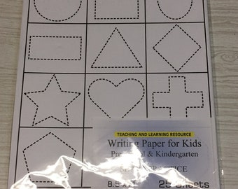 Writing Paper for Kids - Shape Practice - 11 X 8.5 in, 20 lb, 25 sheets