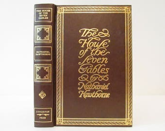 Vintage 1976 The House of Seven Gables by Nathaniel Hawthorne, Decorative Hardcover Book, Longriver Press, Classic Fiction Novel, Brown Gold