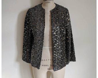 Vintage 80s black silver gold sequin blazer