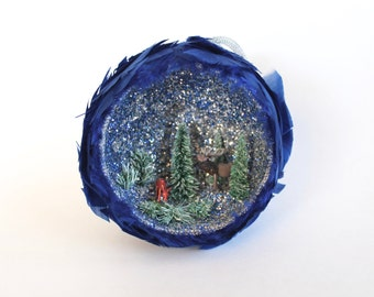 Vintage 1960's Diorama Christmas Tree Ornament with Trees, Deer, and Moose and Blue Feathers