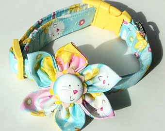 Easter Bunny Flower Collar for Girl Dogs and Cats