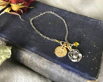 Tale As Old As Time:  Belle Inspired Quote Hand Stamped with Rose Charm Bracelet