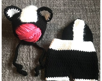 Skunk Outfit Photo Prop, Newborn Skunk Outfit, Baby Skunk Outfit, Baby Skunk Costume, Woodland Baby Shower, Woodland Baby, Crochet Skunk