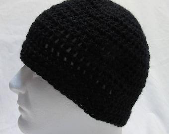 Black Wool Cap, Skull, Beanie, Mans, Crochet, Knit, Goth, Night, Watchcap, Handmade, Steampunk, Womans, Birthday Gift, New, Spring Skullcap