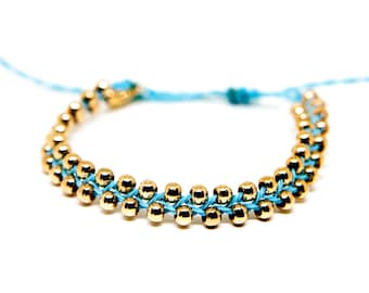 Blue and Gold Beaded Friendship Bracelet