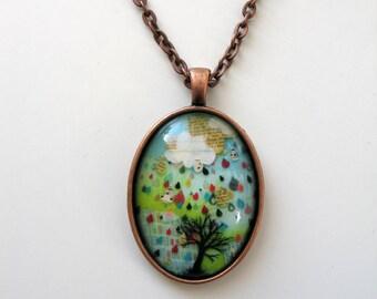 Rain Note - mini print necklace pendant and chain