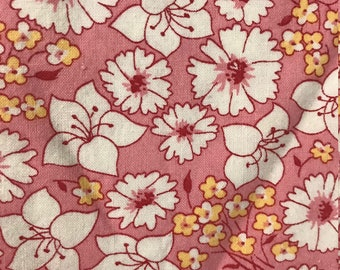 Large Half Yard Remnant- Darlene Zimmerman for Chanteclaire Pink and Yellow Floral Flowers