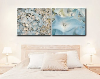 Blue hydrangea canvas pictures, canvas print set of 2 pastel floral canvas wraps, pale blue ivory cream french country cottage chic decor