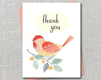 Chickadee Thank You Notecard Instant Download PDF