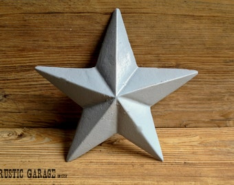 """WINTER GREY - Handpainted Cast Iron Texas Star Wall Hanging - 7.5"""" Metal Star Wall Decor - Patriotic Nautical Rustic Country Home Decor"""