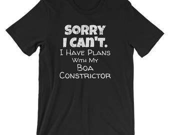 Boa Constrictor Shirt / Snake T-Shirt / Boa Shirt / Funny Excuses Shirt / Boa Constrictor T-shirt / I Have Plans with my Boa Constrictor