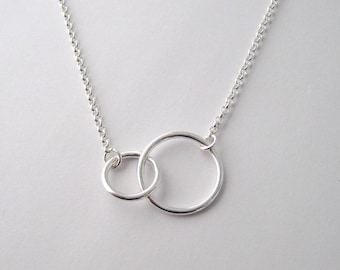 2 circle necklace, mother child necklace, necklace for mom, silver circle necklace, circles necklace, infinity necklace eternity necklace