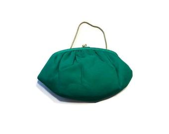 Vintage Green Faille Evening Purse, Convertible Clutch Purse, 1960s Evening Bag