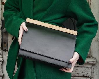 Minimalist Leather Bag with Oak Wood | Black Leather Evening Bag | Office Handbag | Gift for Women | Handmade | Lemnia
