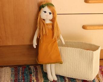 Marigold Cloth Doll - Rag Doll - Fabric Doll - Decorative Doll  - Nursery Decor - Girls Birthday Gift- Girls room