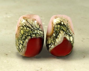 Red and Pink Teardrop Lampwork Glass Bead Pair, Organic Web, Lampwork Beads, Lampwork Glass, Small Beads, Glossy, Rose Garden