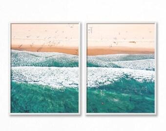 Ocean Print, Beach Wall Art, Waves, Beach Coastal Wall Decor, Digital Download, Modern Minimalist, Turquoise Blue, Large Printable Poster