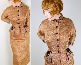 40s 50s Vintage Dress Suit in BURNT ORANGE with geometric print wiggle ROCKABILLY 2 piece jacket and pencil dress secretary landgirl uk10 S