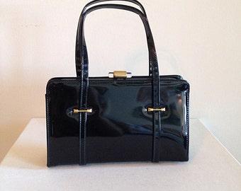 Vintage Mad Men Black Patent Leather Retro Mid Century Handbag Purse