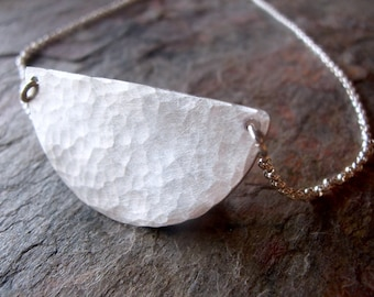Sterling Silver Semicircle Necklace - Sterling Silver Half Circle Pendant on Sterling Silver Chain