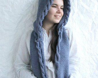 Indigo Blue Wool Hooded Cabled  Long Scarf  Cowl Mothers Days Gift Under USD100
