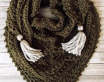 Meadowlark Triangle Shawl   Crochet Shawl   Crochet Triangle Shawl   Green   Gifts for Her