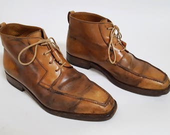 vintage LOEWE Designer Caramel Leather Distressed Patina Lace Up  Ankle Boots / Size 40 / Womens 9 / Mens 7
