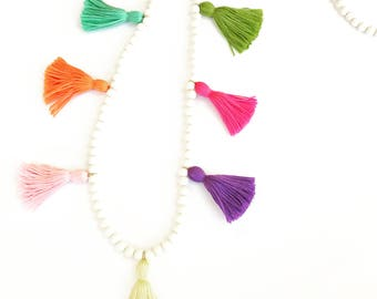 Rainbow Row Tassel Necklace - Multi Tassel Necklace - Tassel Necklace - Beaded Tassel Necklace