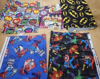 Super Hero Fabric Bundle, Batman, Avengers, Spiderman and Wonder Woman, Super Hero Quilt Remnant Bundle