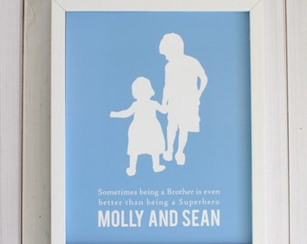 Custom Silhouette Double Print with 2 silhouettes // made from your photo  // Custom Family Portrait, Brothers, Brother and Sister