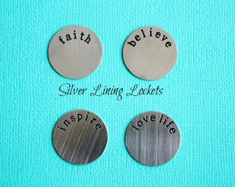 Stainless Steel Locket Plate For Large Glass Memory Lockets-Faith-Believe-Inspire-Love Life-Hope-Dream-Wish-Love-Family-Your Choice