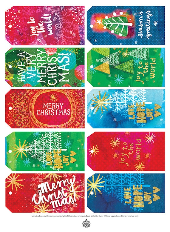 Christmas Gift Tags - Digital Download 10 Sweet William illustrative tags, colourful, Christmas red, green, gold