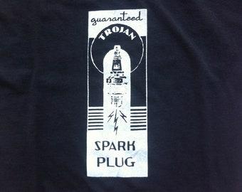 Trojan Spark Plug - Men's T-shirt - Black Fine Jersey - American Apparel - Truckpatch Designs