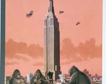 Postcard featuring a famous 'New Yorker' cover. King Kong and friends - January 1995. BIG discount for multiple purchases!!