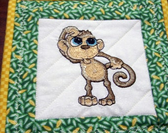 Mini wall hanging adorable monkey, wire hanger included