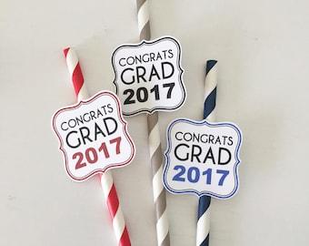 Congrats Grad - Graduation Straw Medallions