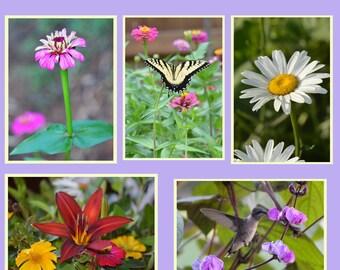 Flower Greeting Card Set, Spring Flower Cards, Garden Note Card Set, Handmade Photo Cards, Blank Card Set, Butterfly Note Card Set,
