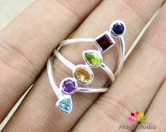 Multi Stone silver ring, long gemstone ring, sterling silver ring, womans Gift Jewelry, Gemstone Silver jewelry,ETR1132