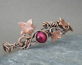 Adjustable bangle ~ Copper anniversary gifts for her ~ Copper  ~ 7th anniversary ~ Copper jewelry ~ Ivy leaf ~ Copper leaf bracelet ~ Leaves