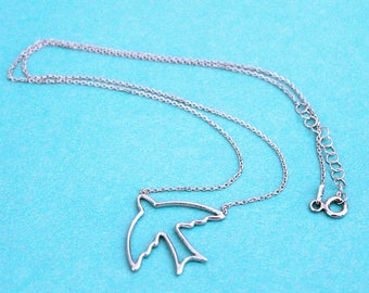 "Sterling Silver Open Bird Necklace, 16""-17"" - for women, for girls, necklace"