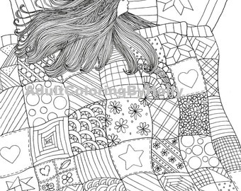 Coloring Page Printable Digital Download Comfy in a Quilt