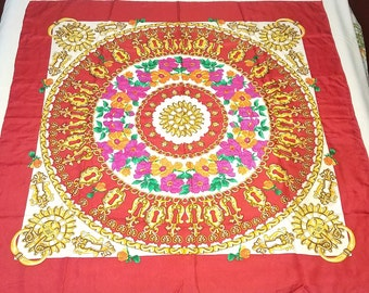 Red Floral Paisley Scarf Extra Large Square Silk